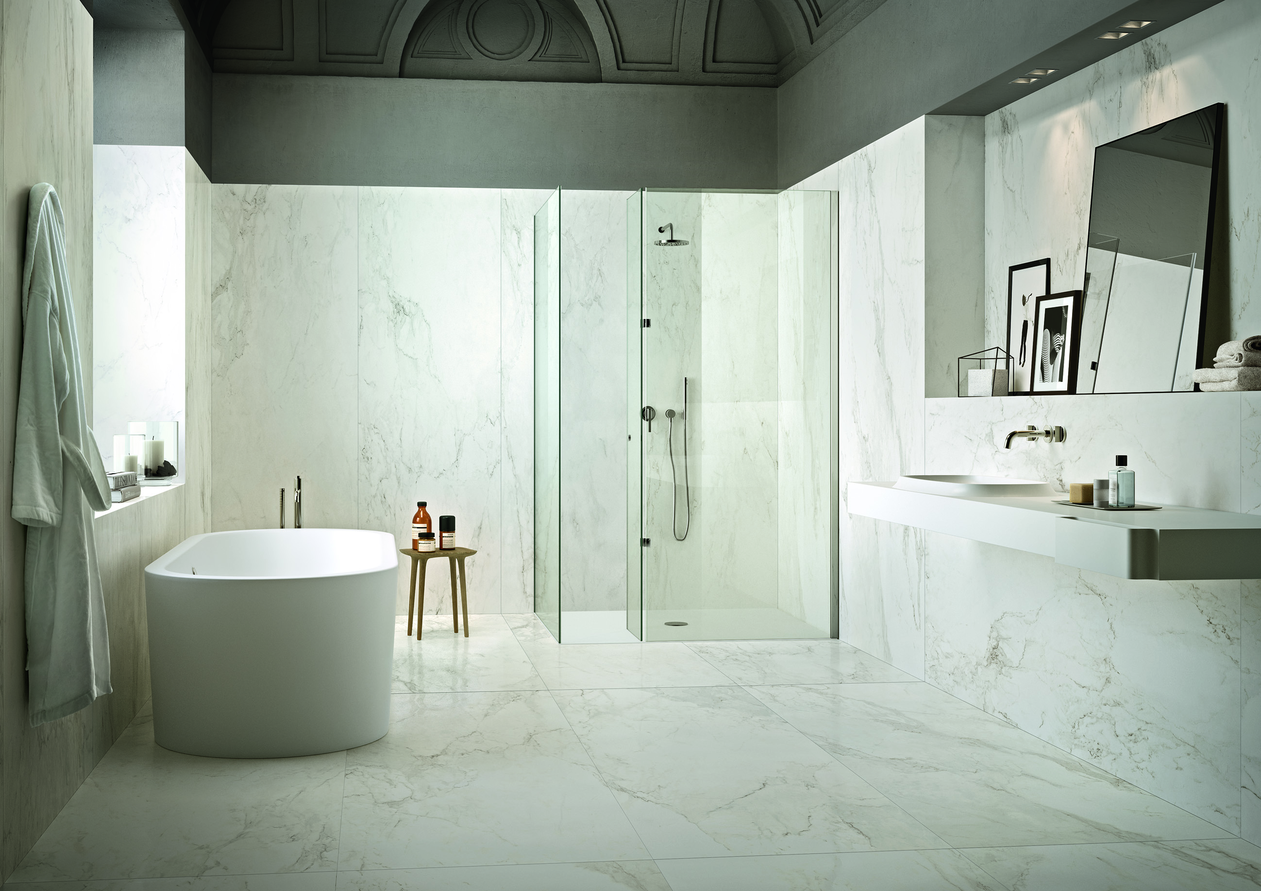 Large White Bathroom Wall Tiles